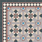 Victorian Floor Tiles - Multi-colour Finsbury (Grasmere) with 70mm encaustic tile.