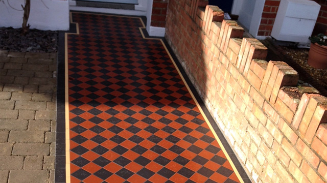 Black and Red Edwardian path tiles