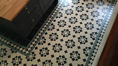 Victorian Octagon Tiles - supplied bespoke sheeted for a contemporary kitchen design.