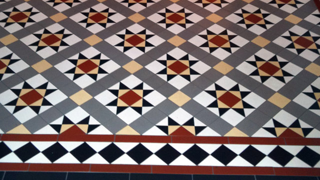 Classic Victorian floor tile design supplied on sheets