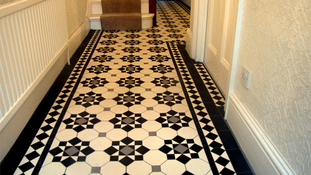 Edwardian Period Reproduction Ceramic Tiled Hallway Hall Tiles 1