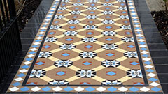 Encaustic Victorian Path Tiles - Supplied bespoke sheeted to fit the dimensions supplied by landscape gardening company.