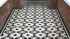 Victorian geometric path tiles - Supplied as loose tiles this popular Victorian pattern was fitted piece by piece.