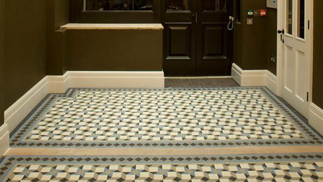 Contemporary geometric floor tiles