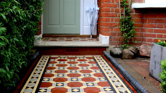 Path - Edwardian style tile design. Specially cut octagons were made for this reproduction tiled path design.
