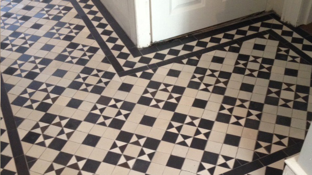 Black and White Victorian tile restoration
