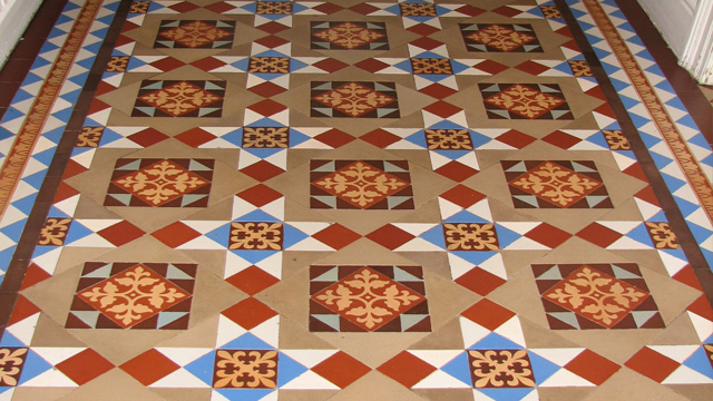 Victorian hall floor encaustics cleaned and restored