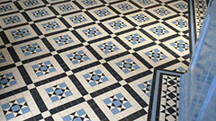 Victorian Ceramic Tiles - A large hallway floor is transformed with a decorative Victorian tile pattern.