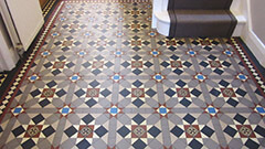 Popular Finsbury pattern featuring 70mm encaustic tile supplied bespoke sheeted for a hall and cloakroom.