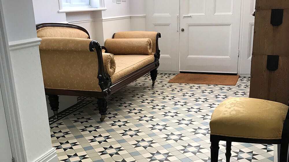 Grey Victorian hall floor tiles - a versatile Victorian tile pattern suiting many colour combinations.