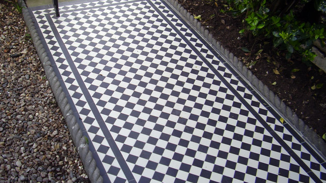 Black and White reproduction Victorian path tiles