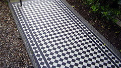 Black and White Victorian Path Tiles with 35mm wide strips for the inner border line.