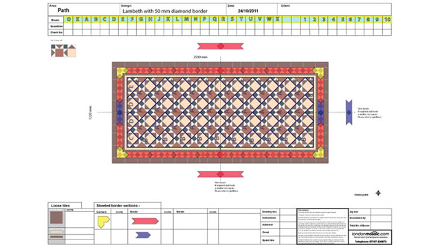 Victorian path tiles - sheeting diagram