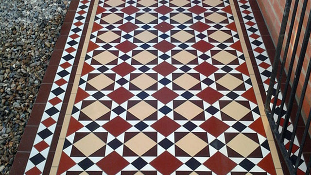 New installation of traditional Victorian path tiles