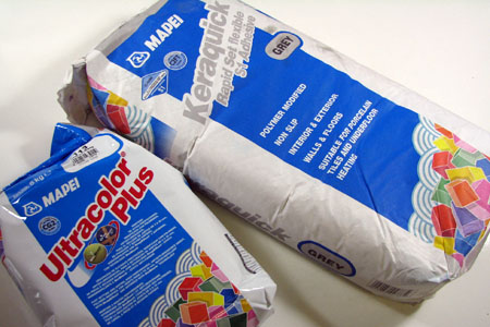 Mapei tile adhesive and grout