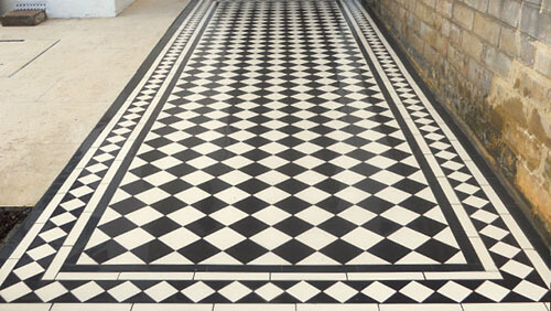 Reproduction Victorian floor tiles outdoor