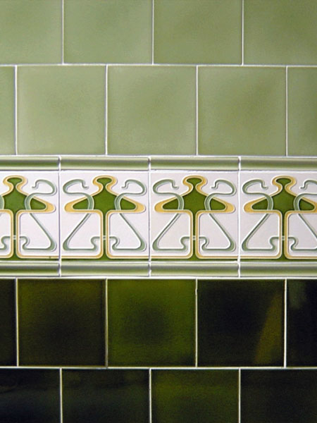 Art Nouveau style glazed ceramic hall tiles