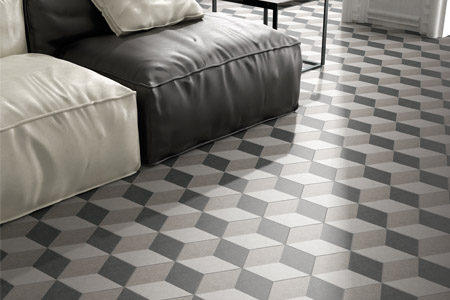 Hexagon shape porcelain tiles in grey tones