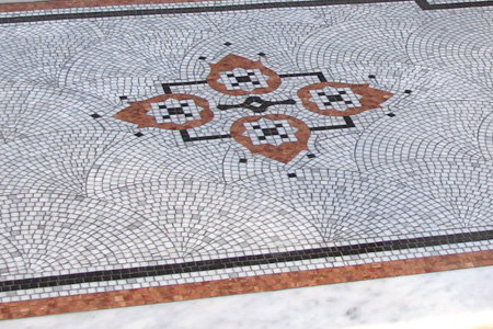 Fan marble mosaic with decorative motif