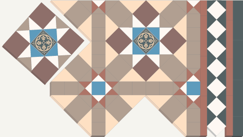 Sheeted tiles tessellate to create design