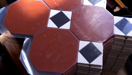Octagon 100 design being prepared as sheets of tiles
