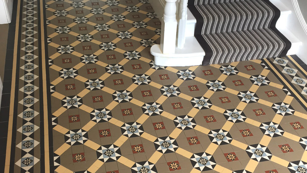 Victorian encaustic hall floor tiles