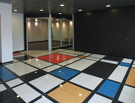 Polished porcelain tiles black, white, red, blue and yellow
