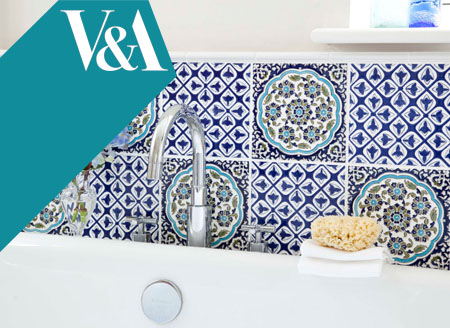 Glazed ceramic decorated bathroom tiles