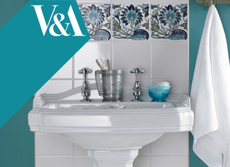 Glazed ceramic decorated bathroom sink splashback tiles