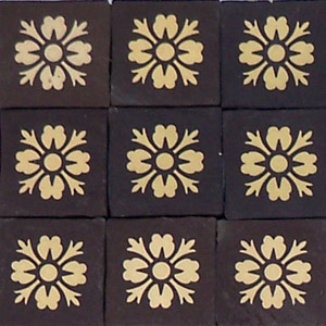Black and White - floral motif - Salvaged Victorian Encaustic Tiles