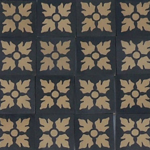Black and Buff - floral motif - Salvaged Victorian Encaustic Tiles