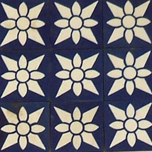 Dark Blue and White - floral pattern - Salvaged Victorian Encaustic Tiles