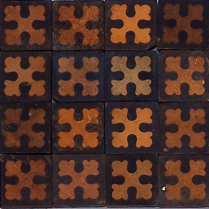 Black and Buff cross pattern - Salvaged Victorian Encaustic Tiles