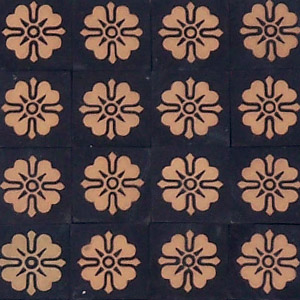 Black and Buff flower pattern - Salvaged Victorian Encaustic Tiles