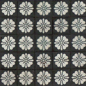 Black and White flower pattern - Salvaged Victorian Encaustic Tiles
