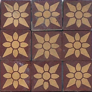 Red and Buff flower pattern - Salvaged Victorian Encaustic Tiles