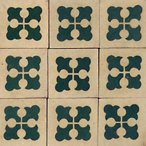 White and Dark Green cross pattern - Salvaged Victorian Encaustic Tiles