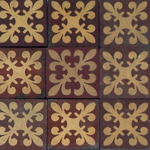 Red and Buff regal pattern - Salvaged Victorian Encaustic Tiles