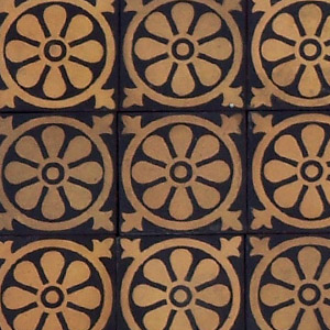 Black and Buff flower within circle pattern - Salvaged Victorian Encaustic Tiles
