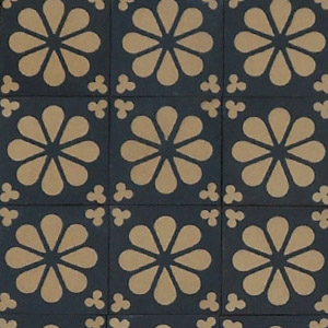 Black and White flower and clover pattern - Salvaged Victorian Encaustic Tiles