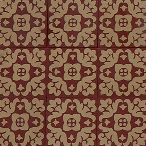 Red and Buff - Salvaged Victorian Encaustic Tiles