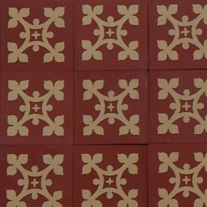Red and Cream - floral cross pattern - Salvaged Victorian Encaustic Tiles