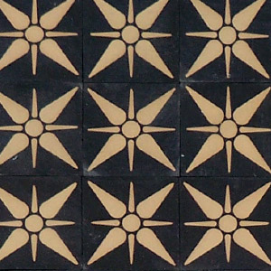 Black and White - star pattern - Salvaged Victorian Encaustic Tiles
