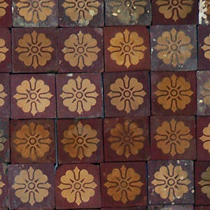 Red and Buff - floral motif - Salvaged Victorian Encaustic Tiles