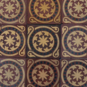 Red, Black and Buff Salvaged Victorian Encaustic Tiles