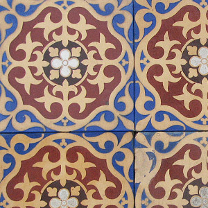 Red, Buff, Black, White and Dark Blue - Salvaged Victorian Encaustic Tiles