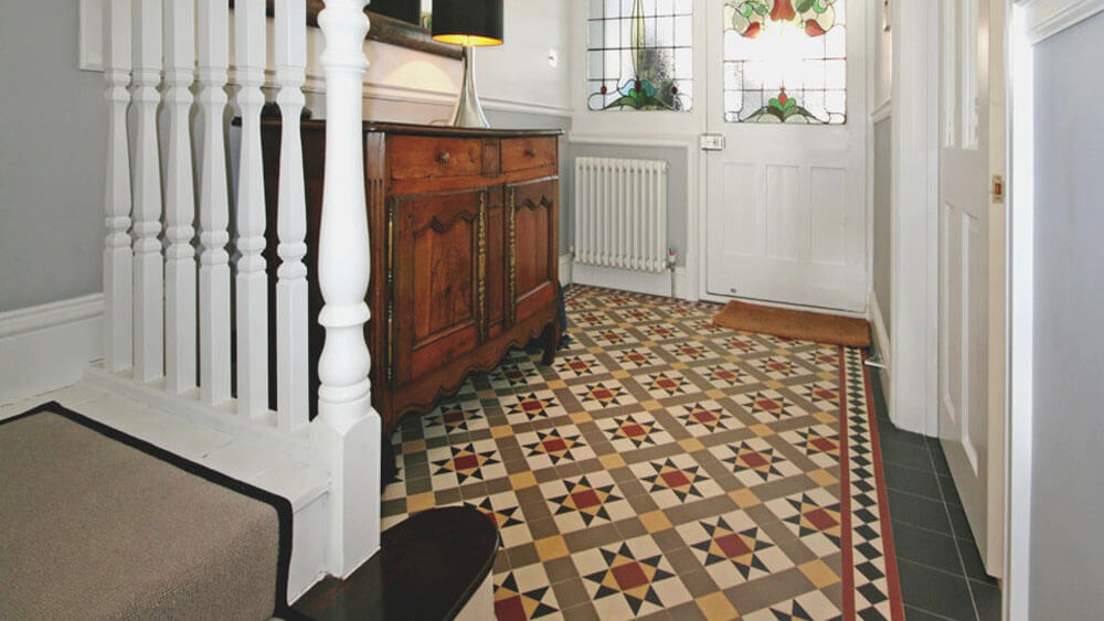 Traditional Victorian hall floor tiles