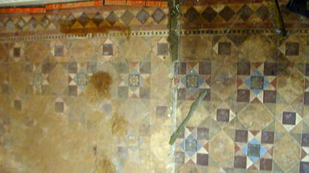 Victorian tiles discovered under carpet